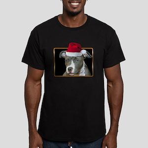 Christmas Pitbull Pup Men's Fitted T-Shirt (dark)