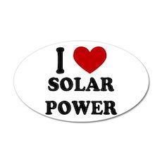 I Heart Solar Power 20x12 Oval Wall Peel