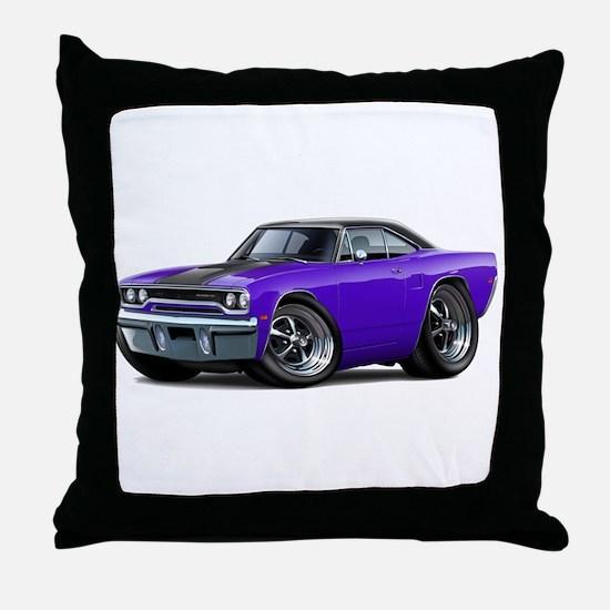 1970 Roadrunner Purple-Black Car Throw Pillow