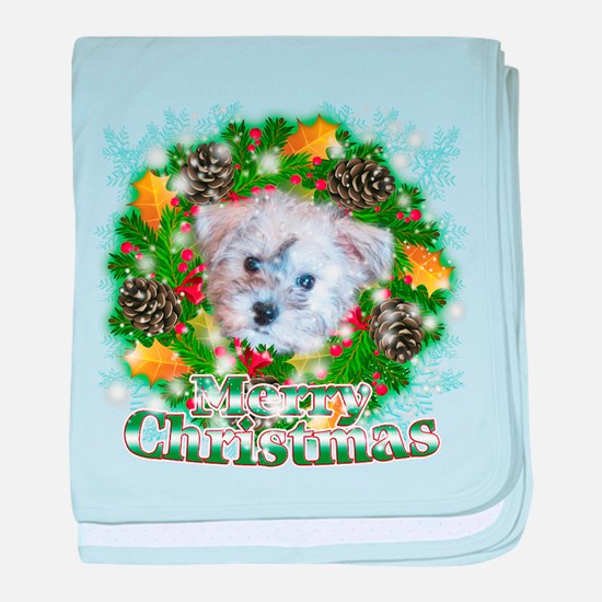 Merry Christmas Schnoodle baby blanket