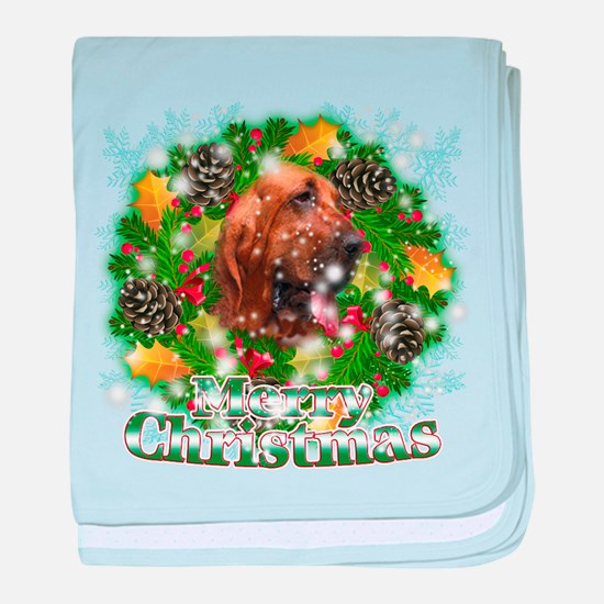 Merry Christmas Bloodhound baby blanket