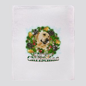 Merry Christmas Lab Throw Blanket