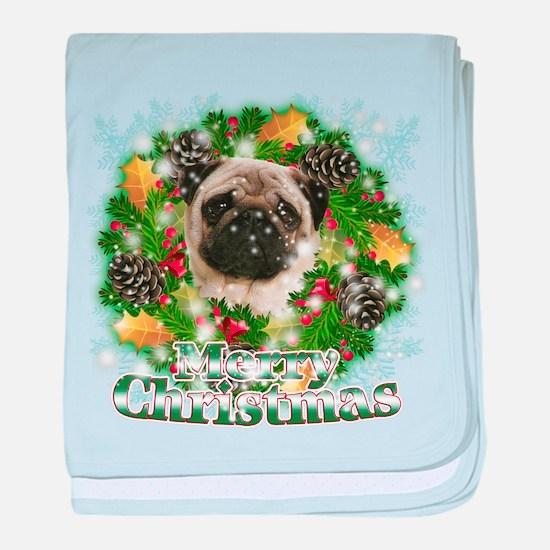 Merry Christmas Pug baby blanket