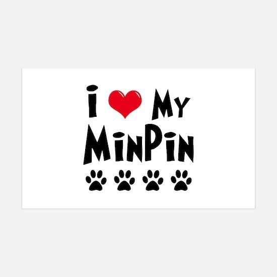 I Love My Min Pin 35x21 Wall Peel