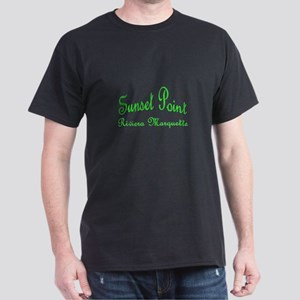 Lime Font Sunset Point Riviera Marquette Dark T-Sh