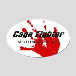 Cage Fighter Bloody Handprint 20x12 Oval Wall Peel