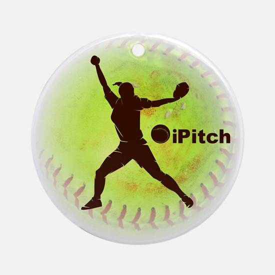 iPitch Fastpitch Softball Ornament (Round)