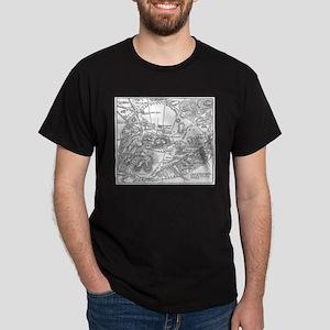 Ancient Athens Map Dark T-Shirt