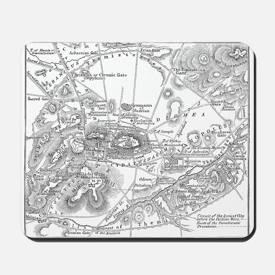 Ancient Athens Map Mousepad