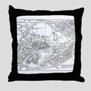 Ancient Athens Map Throw Pillow