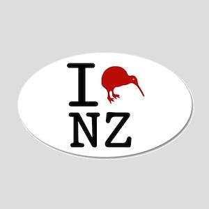 I Love New Zealand 20x12 Oval Wall Peel