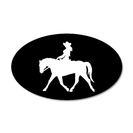 Cute Cowgirl on Horse 35x21 Oval Wall Peel