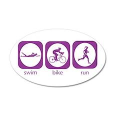 Swim Bike Run 20x12 Oval Wall Peel