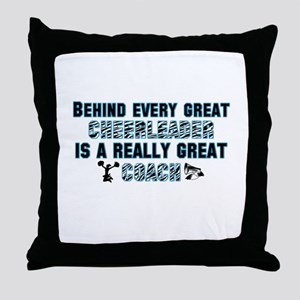 Great Cheer Coach - Blue Zebr Throw Pillow