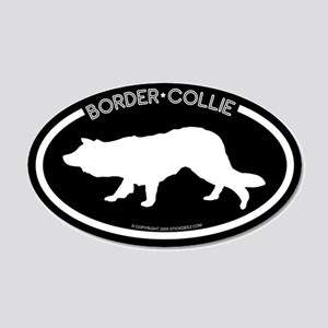 """Border Collie"" Black 20x12 Oval Wall Peel"