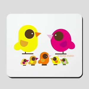 """birds + 5 birdies"" Mousepad"