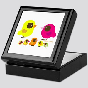 """birds + 5 birdies"" Keepsake Box"