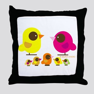 """birds + 5 birdies"" Throw Pillow"