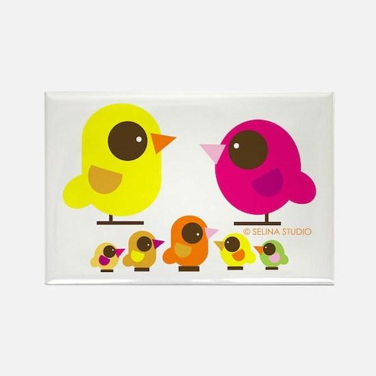 """""""birds + 5 birdies"""" Rectangle Magnet"""