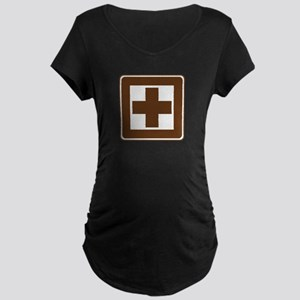First Aid Sign Maternity Dark T-Shirt