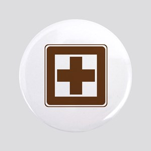 """First Aid Sign 3.5"""" Button"""