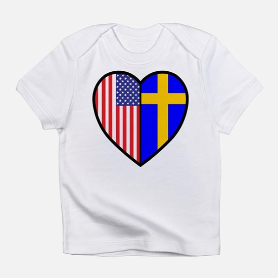 Swedish-American FlagHeartCreeper Infant T-Shirt