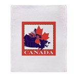 Canada Map with Maple Leaf Ba Throw Blanket