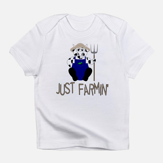 Cute Farmer B/W Cow Says Just Infant T-Shirt