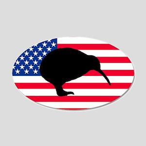 U.S. Kiwi Flag 20x12 Oval Wall Peel