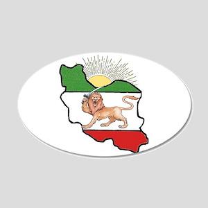 Iran Flag-Map & Sun 20x12 Oval Wall Peel