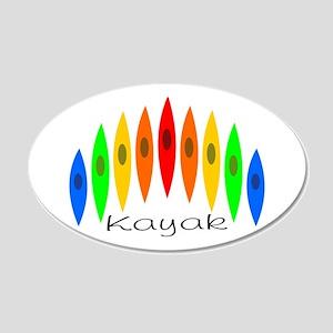 Rainbow of Kayaks 20x12 Oval Wall Peel