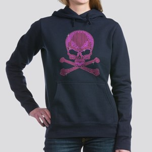 Pink Rhinestone Skull and Crossbones Sweatshirt