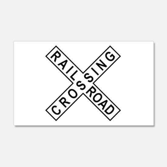 Rail Road Crossing Sign 20x12 Wall Peel