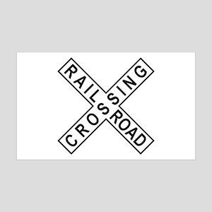 Rail Road Crossing Sign 35x21 Wall Peel