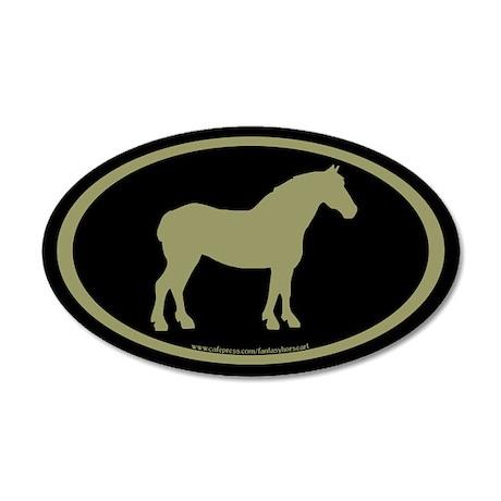 Draft Horse Oval (sage/blk) 20x12 Oval Wall Peel