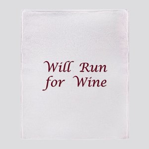 Will Run for Wine Throw Blanket