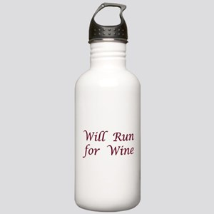 Will Run for Wine Stainless Water Bottle 1.0L