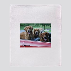Golden Retriever Summer Drive Throw Blanket