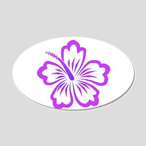 Purple Hibiscus 20x12 Oval Wall Peel