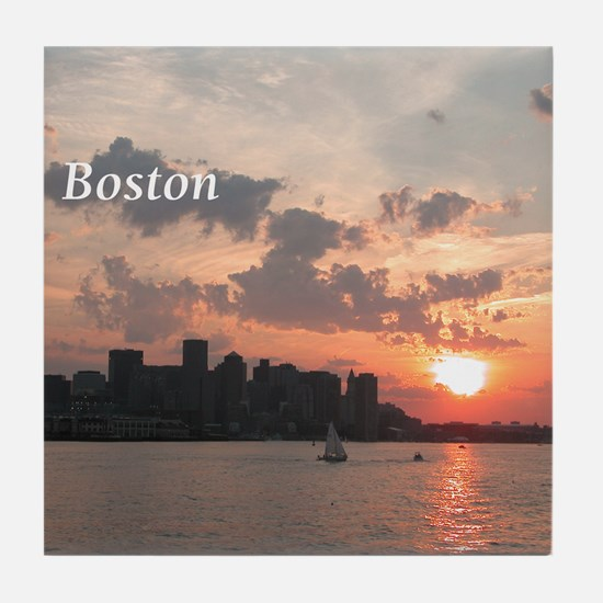 Sunset on Boston Skyline Tile Coaster