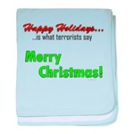 Happy Holidays is what terror baby blanket