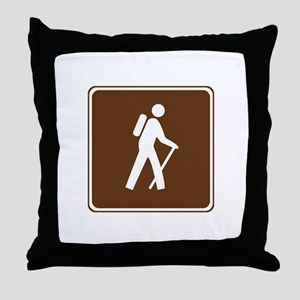Hiking Trail Sign Throw Pillow