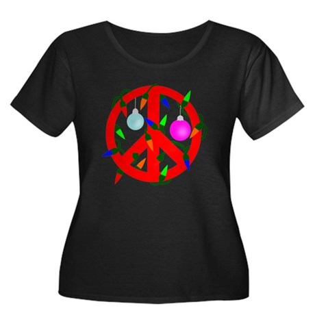 Peace For Christmas Red Women's Plus Size Scoop Ne