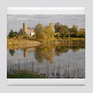 Barn and Farm Reflections Tile Coaster