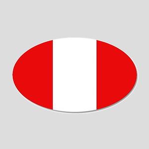 Peru Flag 20x12 Oval Wall Peel