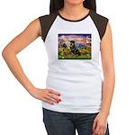 Autumn Angel & Rottie Women's Cap Sleeve T-Shirt
