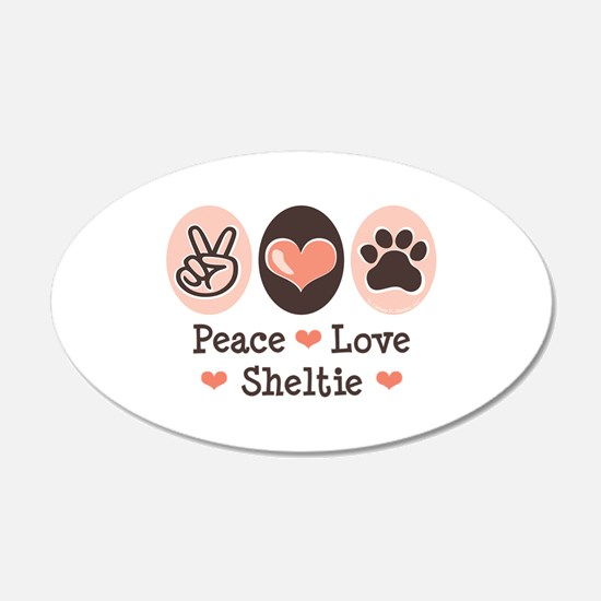 Peace Love Sheltie 20x12 Oval Wall Peel