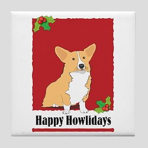 Pembroke Corgi Holiday Design Tile Coaster