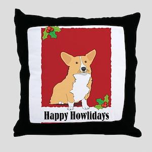 Pembroke Corgi Holiday Design Throw Pillow