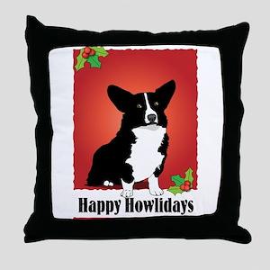 Cardigan Corgi Holiday Design Throw Pillow